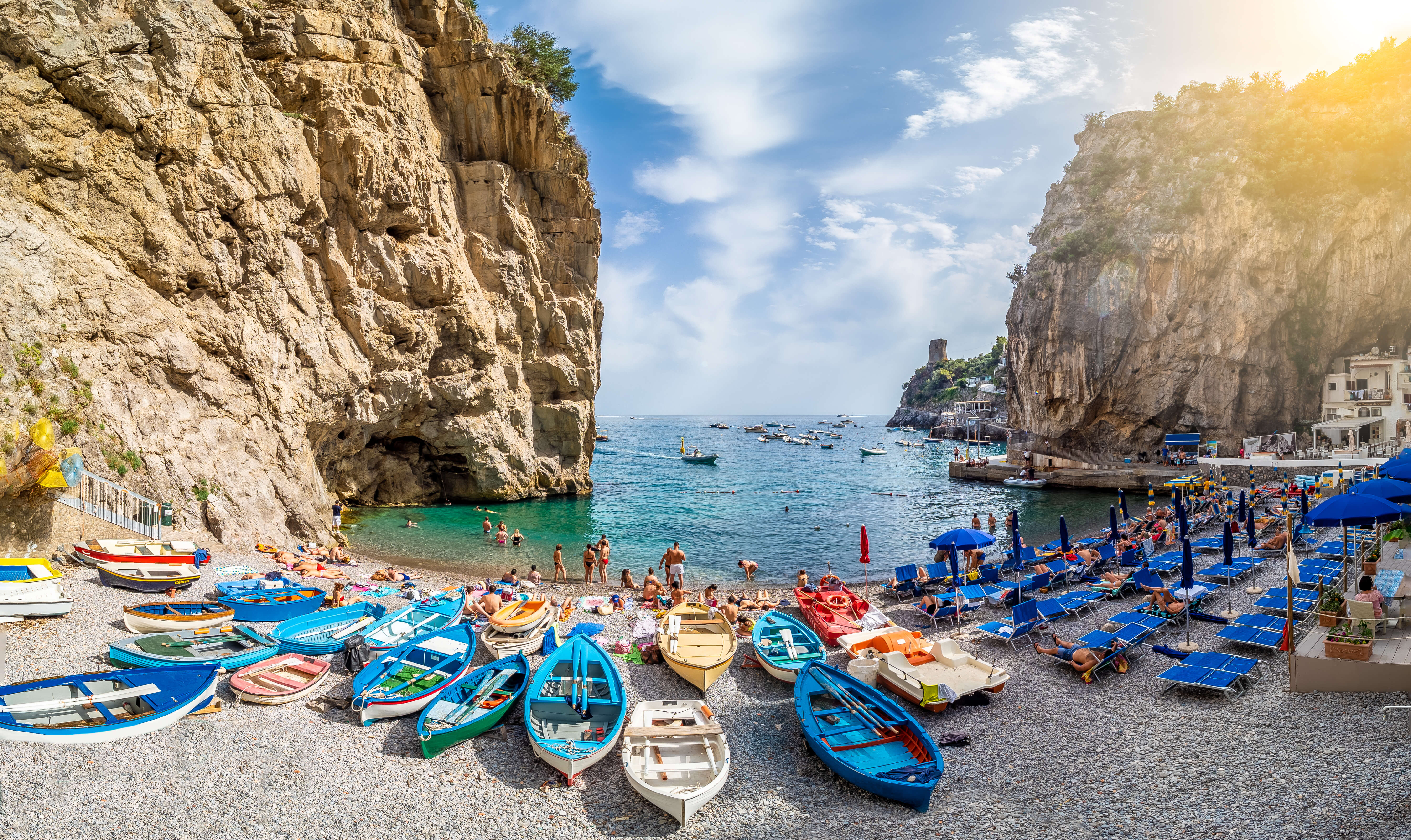 Amalfi, Italy - June 23, 2019: Landscape with amazing Marina di Praia beach  at famous amalfi coast, Italy